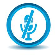 Muted microphone icon, blue, 3D Piirros