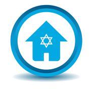 Jewish house icon, blue, 3D - stock illustration