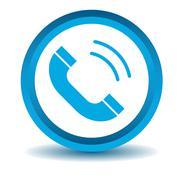 Calling icon, blue, 3D - stock illustration