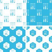 Test-tubes patterns set - stock illustration