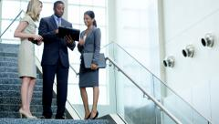 Male female multi ethnic financial business team in the office atrium Stock Footage