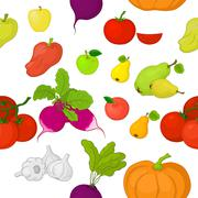 Vegetables and fruits, seamless background Stock Illustration