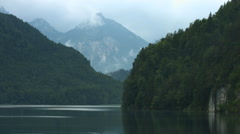 View of the Alpsee and the Alps, Neuschwanstein Castle Stock Footage