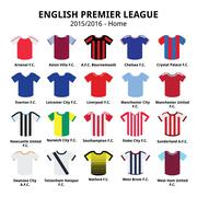 English Premier League 2015 - 2016 football or soccer jerseys icons set - stock illustration