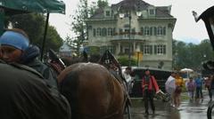 Carriage stopped in front of Schlosshotel Lisl, Neuschwanstein Stock Footage