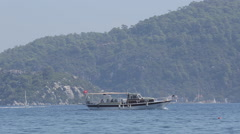 Taxi Boat on Aegean Sea near Iclemer, Marmaris, Anatolia, Turkey Stock Footage