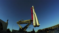 Model rocket Vostok at VDNH Stock Footage