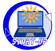 Start-up emblem for new youth project with a blue laptop and stylish sun on d Stock Illustration