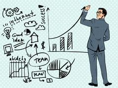 Businessman drawing business concept of success Stock Illustration