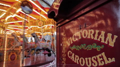 Victorian Carousel at Christmas, Sheffield, South Yorkshire, England, UK, Europe Stock Footage