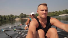 Rowers  in action: power and passion Stock Footage