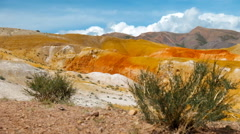 Altai red clay desert landscape in Kosh-Agach hollow near Kyzyl-Chin river Stock Footage