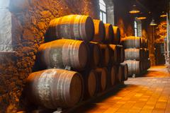 Cellar with wine barrels Stock Photos