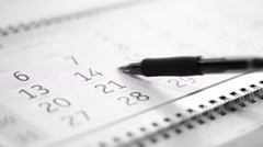 Tracking a date on the calendar - stock footage