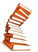 books massive isolated on white - stock photo
