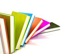 Colored books isolated on glossy white #4 Stock Photos