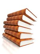 books massive on glossy white - stock photo