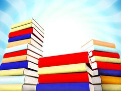 3d colored books massive for design - stock photo