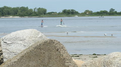 Stand up paddle boarders 4K. Stock Footage