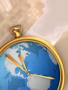 globe clock on map - stock photo
