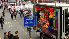 Birmingham Gay Pride - Fairy truck with Ugly Sisters Stock Footage