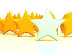 yellow stars massive on white - stock photo