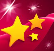 yellow stars  on fantazy background - stock photo