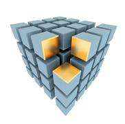 abstract boxes array with gold place - stock photo