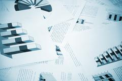 business graphs on the office table - stock photo