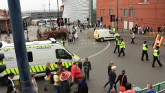 Birmingham Gay Pride by the Bullring - Police Officers and Ambulance Stock Footage