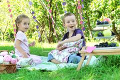Sister and brother having fun on picnic - stock photo