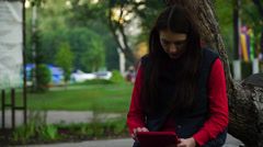 young girl use app in the computer tablet - stock footage