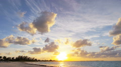 Time lapse sunset seascape view of ocean travel destination - stock footage