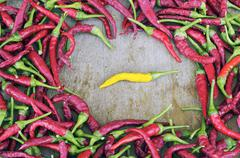 Red hot peppers with the exception of yellow Stock Photos