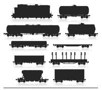 Set of train with freight wagons. - stock illustration