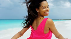 Stock Video Footage of Portrait of happy African American girl on beach