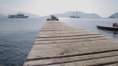 Boardwalk & Aegean Sea, Marmaris, Anatolia, Turkey Stock Footage