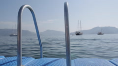 Tethered Boats & Aegean Sea, Marmaris, Anatolia, Turkey Stock Footage