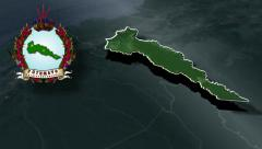 Putumayo whit Coat of arms animation map Stock Footage