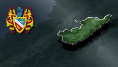 Huila whit Coat of arms animation map - stock footage