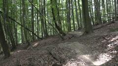 Downhill mountain bike jump Stock Footage