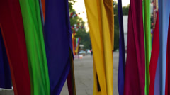 Flags of different colors close up Stock Footage