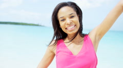 Portrait of happy African American girl on vacation - stock footage