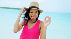 Portrait of African American girl in beach vacation Resort - stock footage
