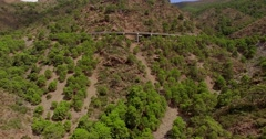 Aerial. Curvy Road in Spanish Mountains Stock Footage