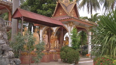 Statues near monastery in Vientiane, Laos Stock Footage