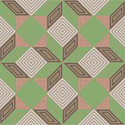 Seamless vector pattern, vintage pastel colours, square mosaic - stock illustration