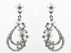 earrings with Briliant on the white - stock photo