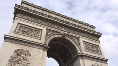 The top of the Arc de Triomphe (in 4K) in Paris, France. Stock Footage