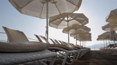 Sun Loungers & Sunshades, Marmaris, Anatolia, Turkey Stock Footage